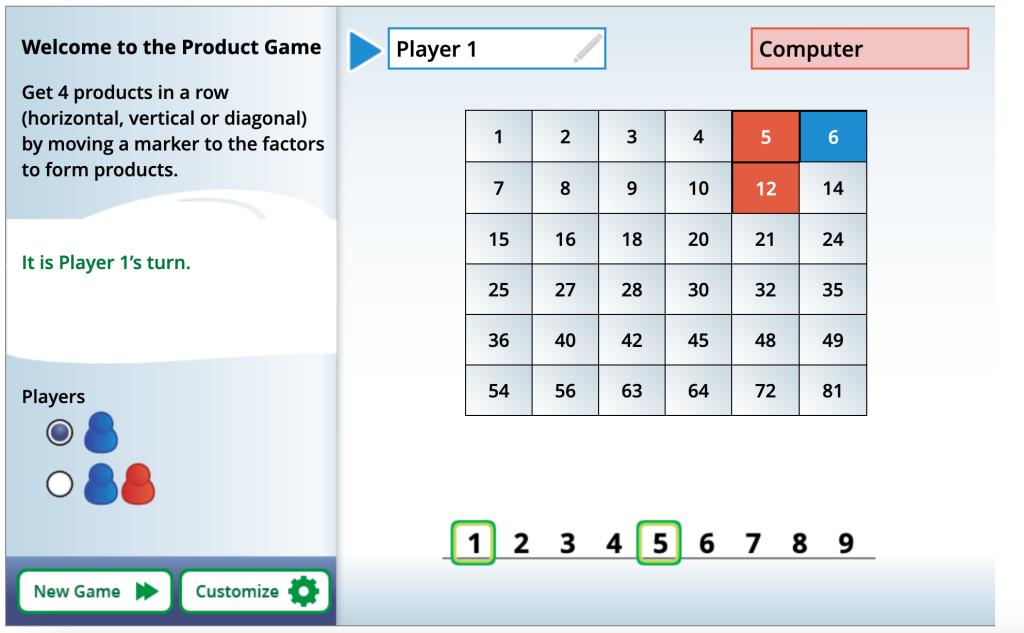 Product Game: practice multiplication, factors, multiples