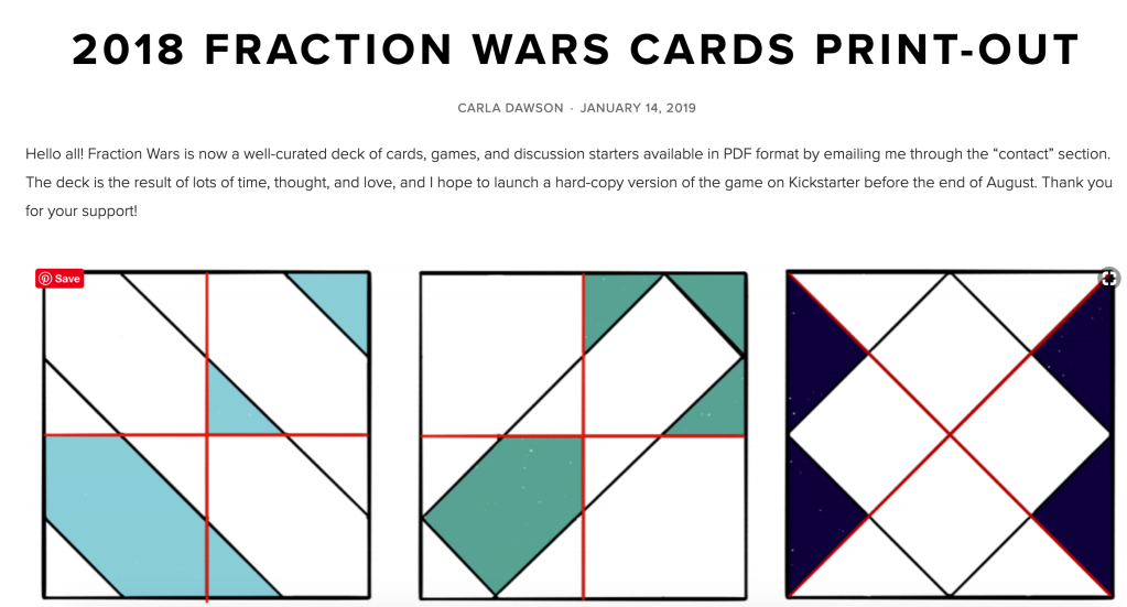 Fraction War Cards print out